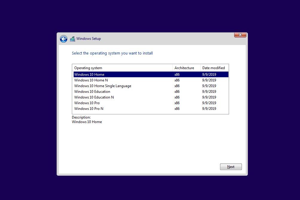 Windows Setup screen with a list of Windows 10 versions
