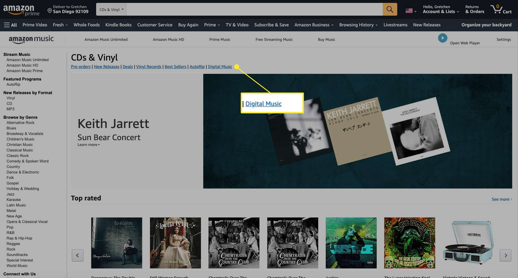 Amazon Music website with Digital Music highlighted