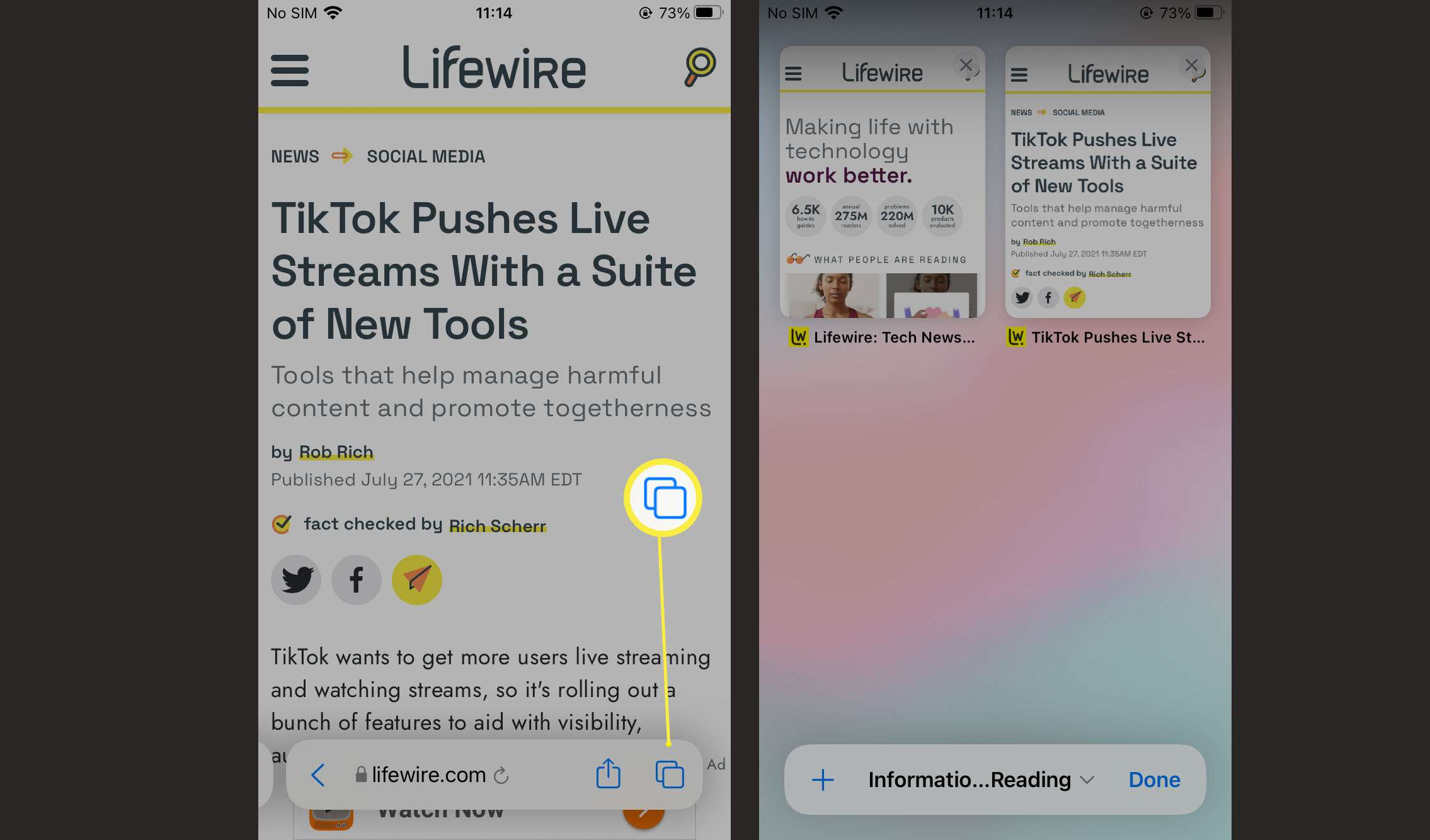 Steps needed to arrange tabs on Safari on iOS 15