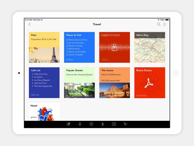 Zoho Notebook app on an iPad with various travel notes