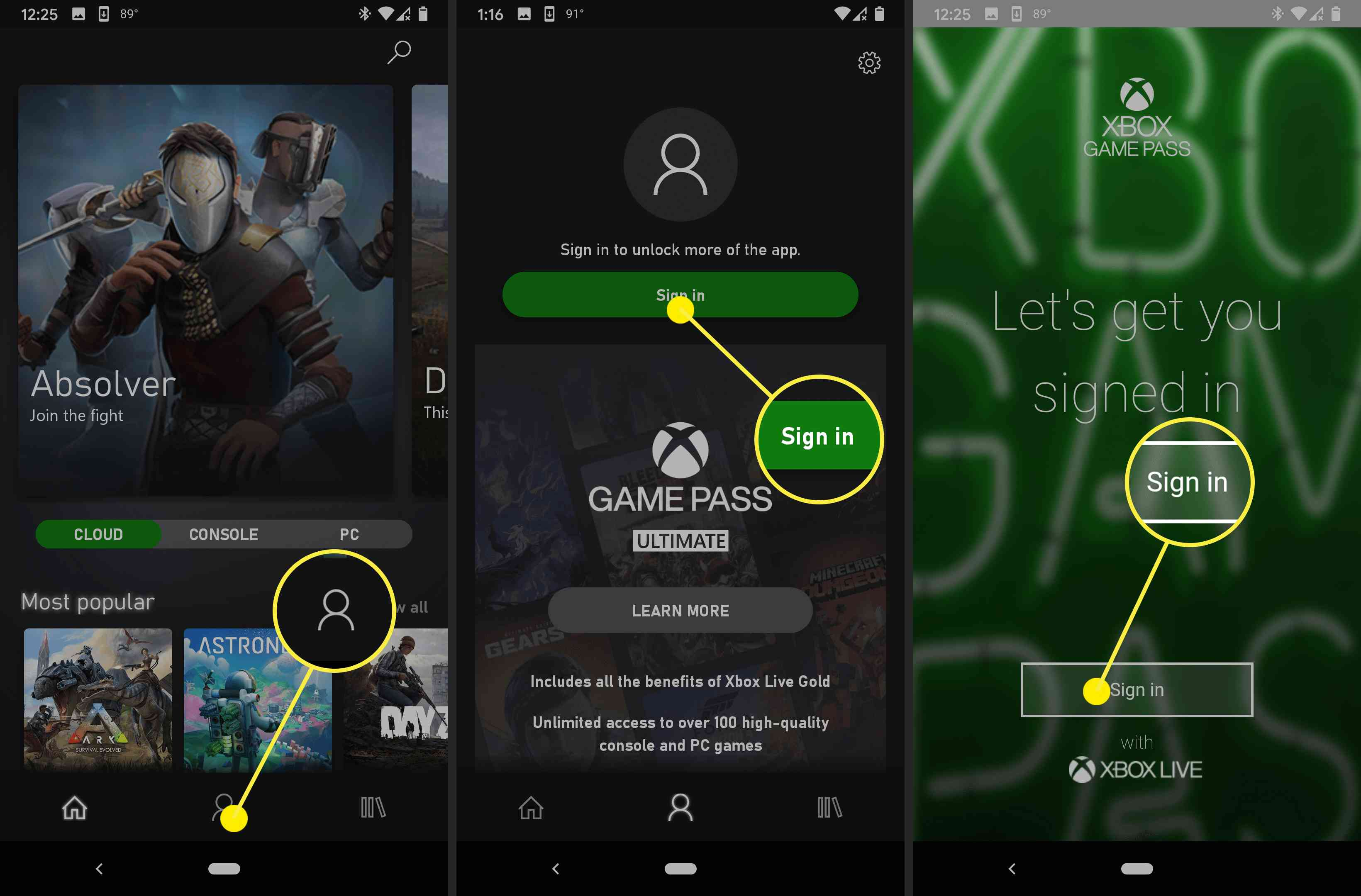 Screenshots of signing in to stream with Xbox Gamepass
