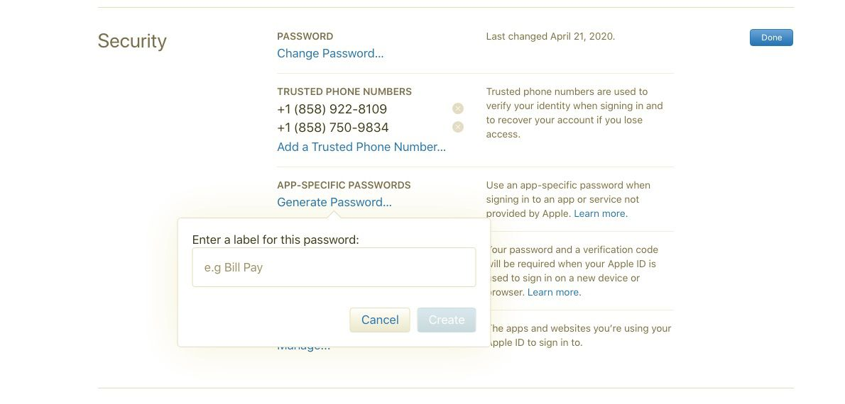 Enter label for password in Apple ID security settings