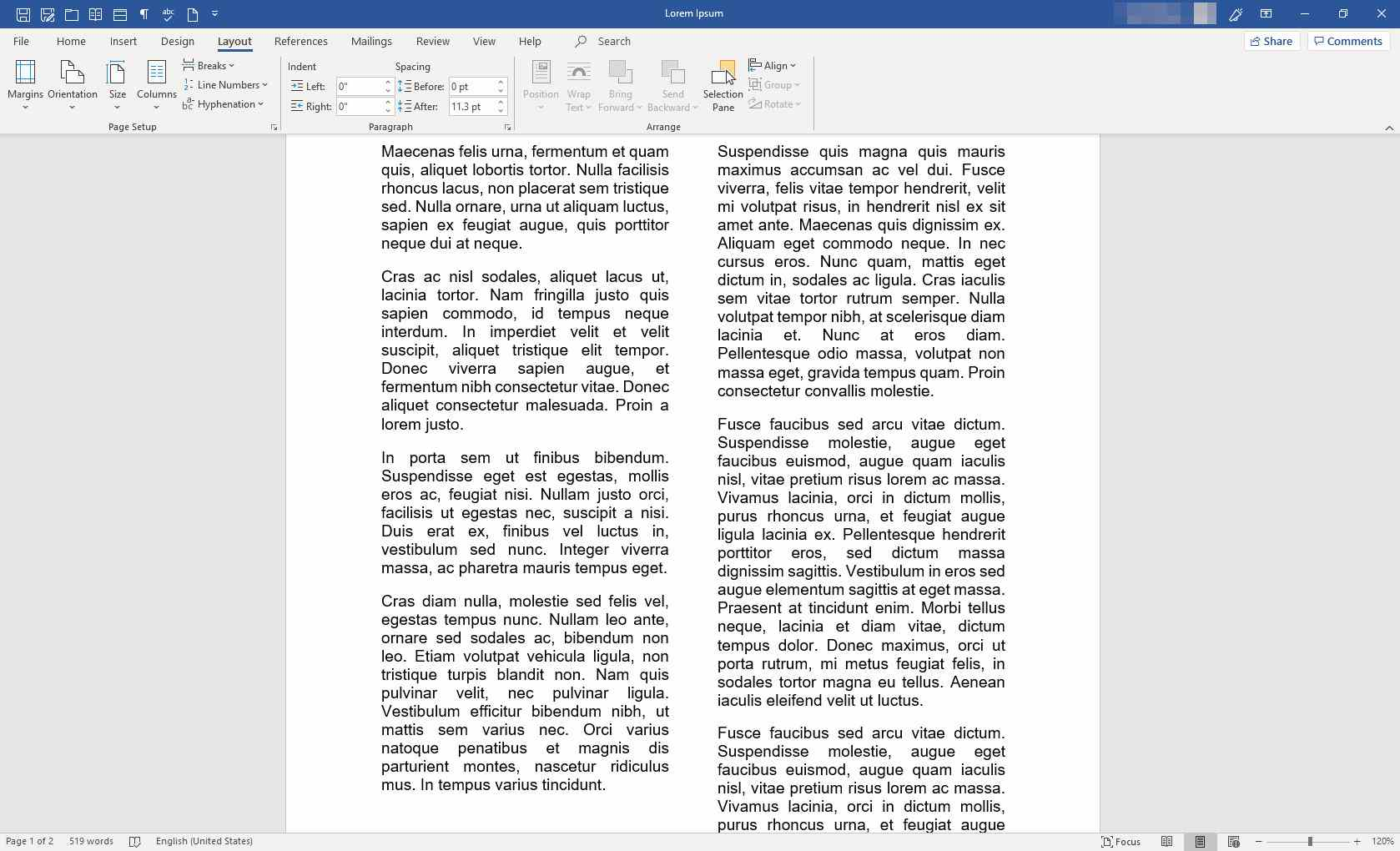 MS Word with column break inserted