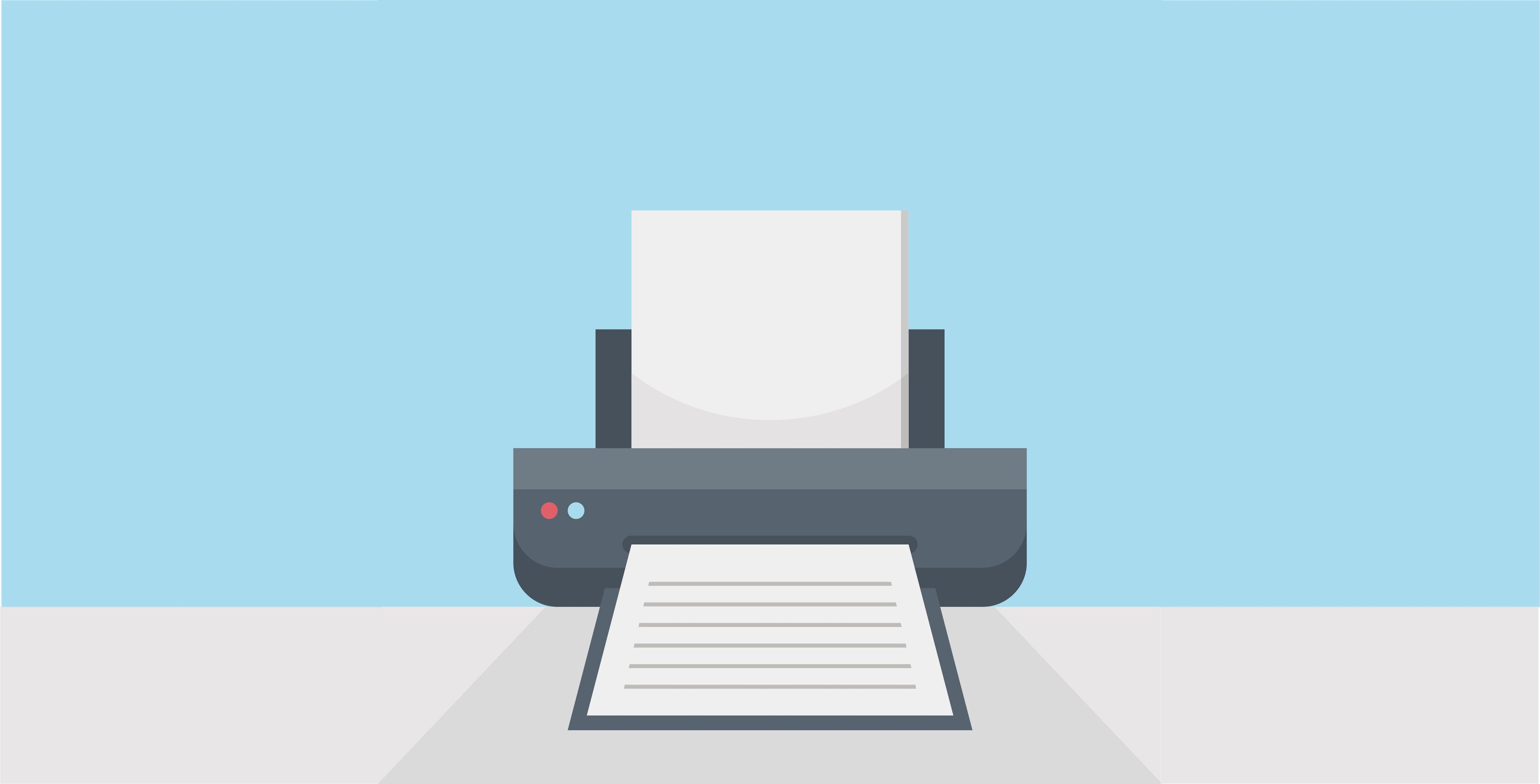 Graphic of printer printing a page.