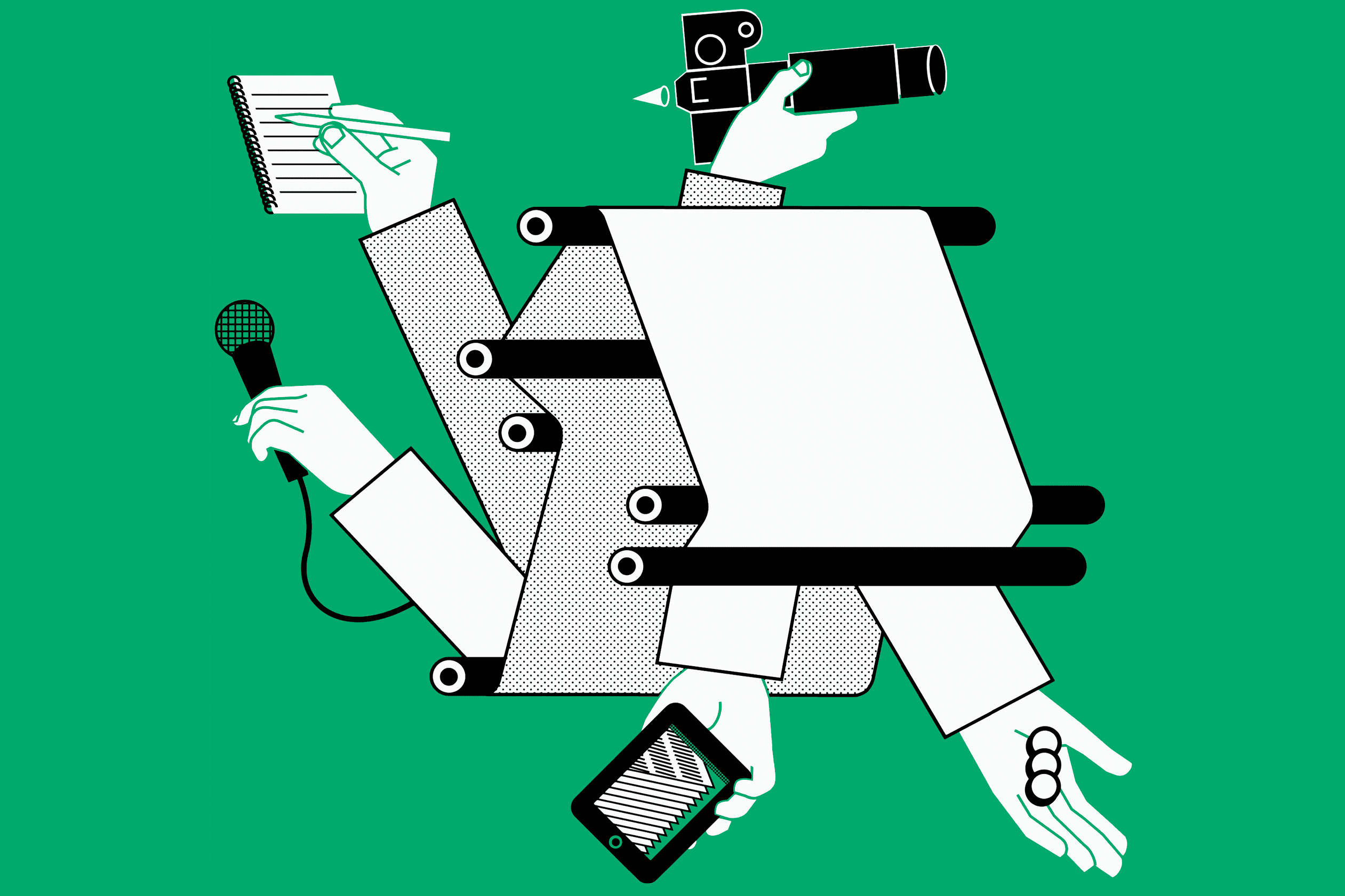 Printed newspaper and mobile technology illustration
