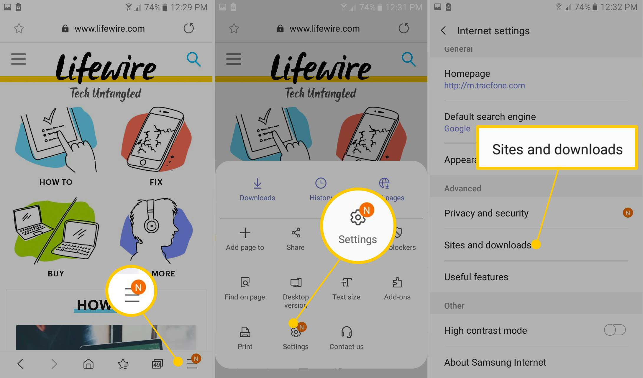Smasung Internet browser menu, Setting icon, Sites and downloads button