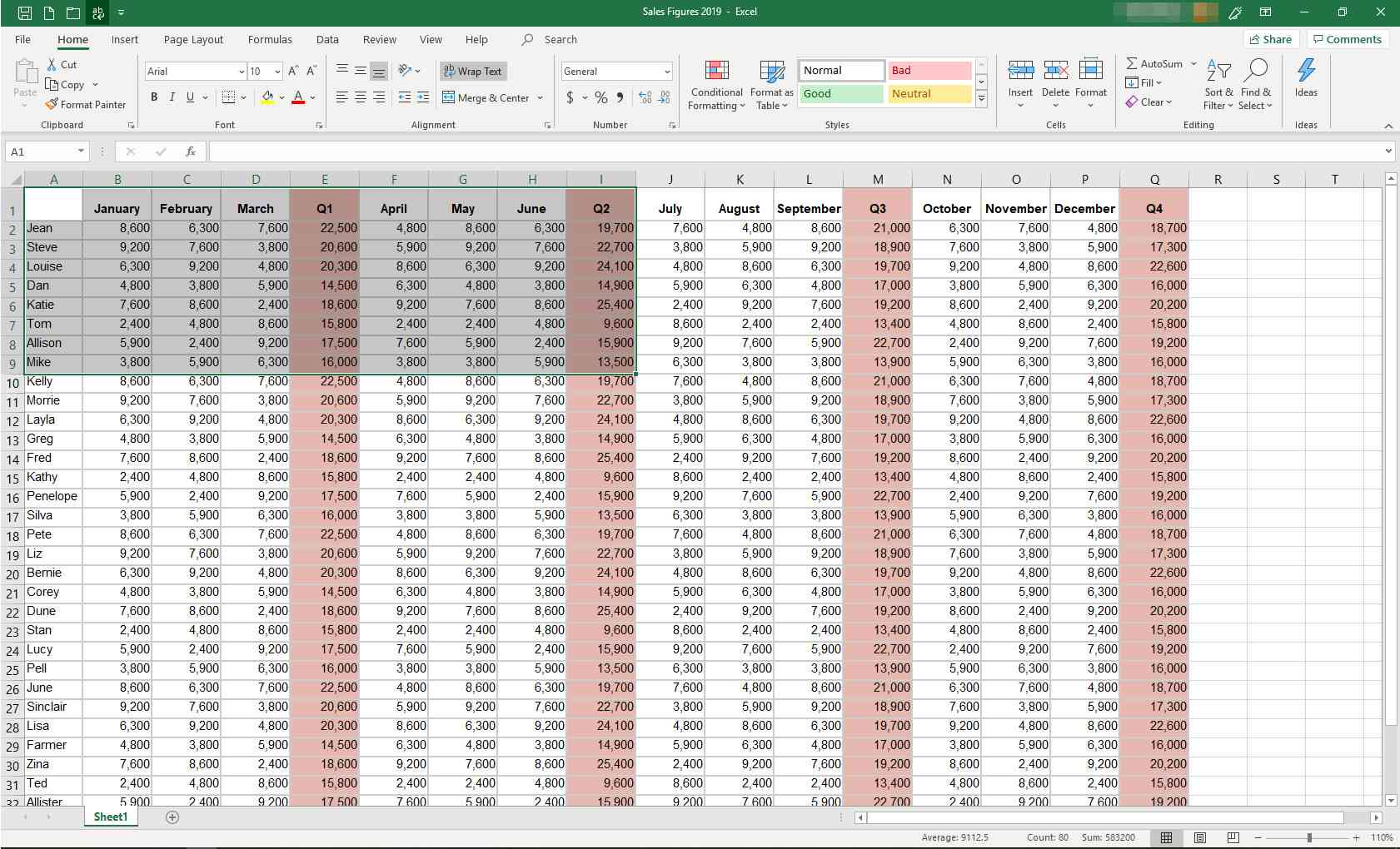 MS Excel spreadsheet with some data highlighted