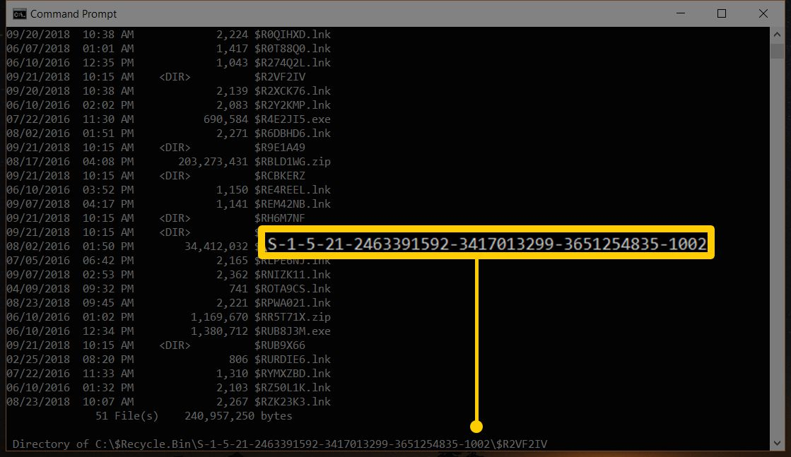Command Prompt screenshot highlighting the Windows 10 name of the folder to be Restored