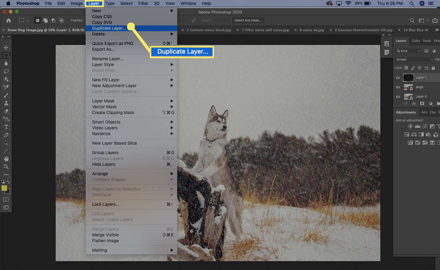 To add more snow, select the layer in the Layer's Palette, and then select Layer > Duplicate Layer.