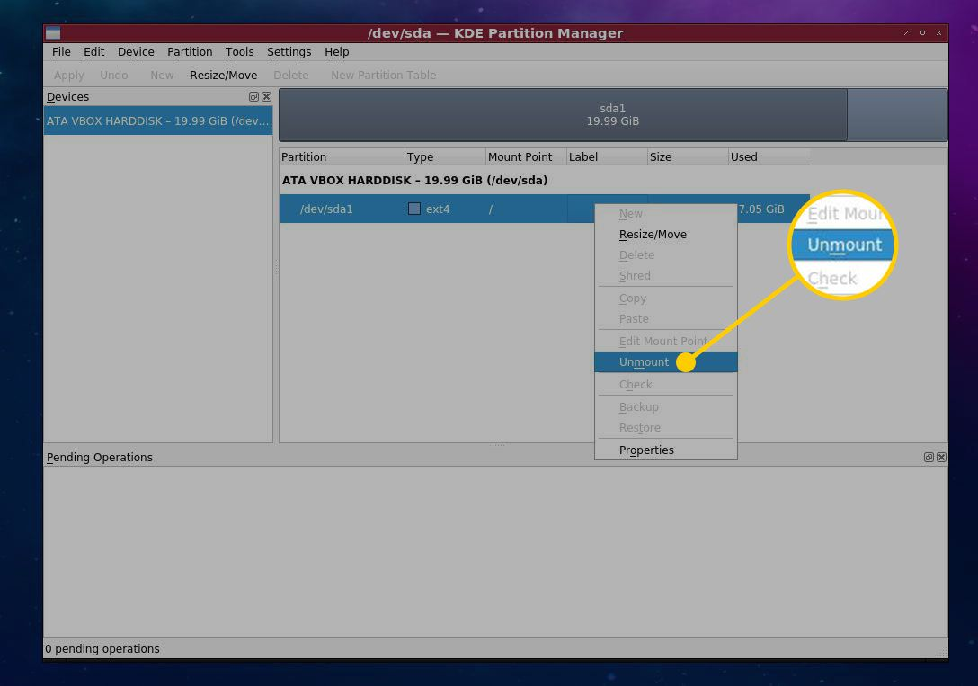 Unmount command in KDE Partition Manager