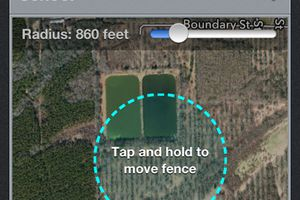 A screen capture of a geofense boundary
