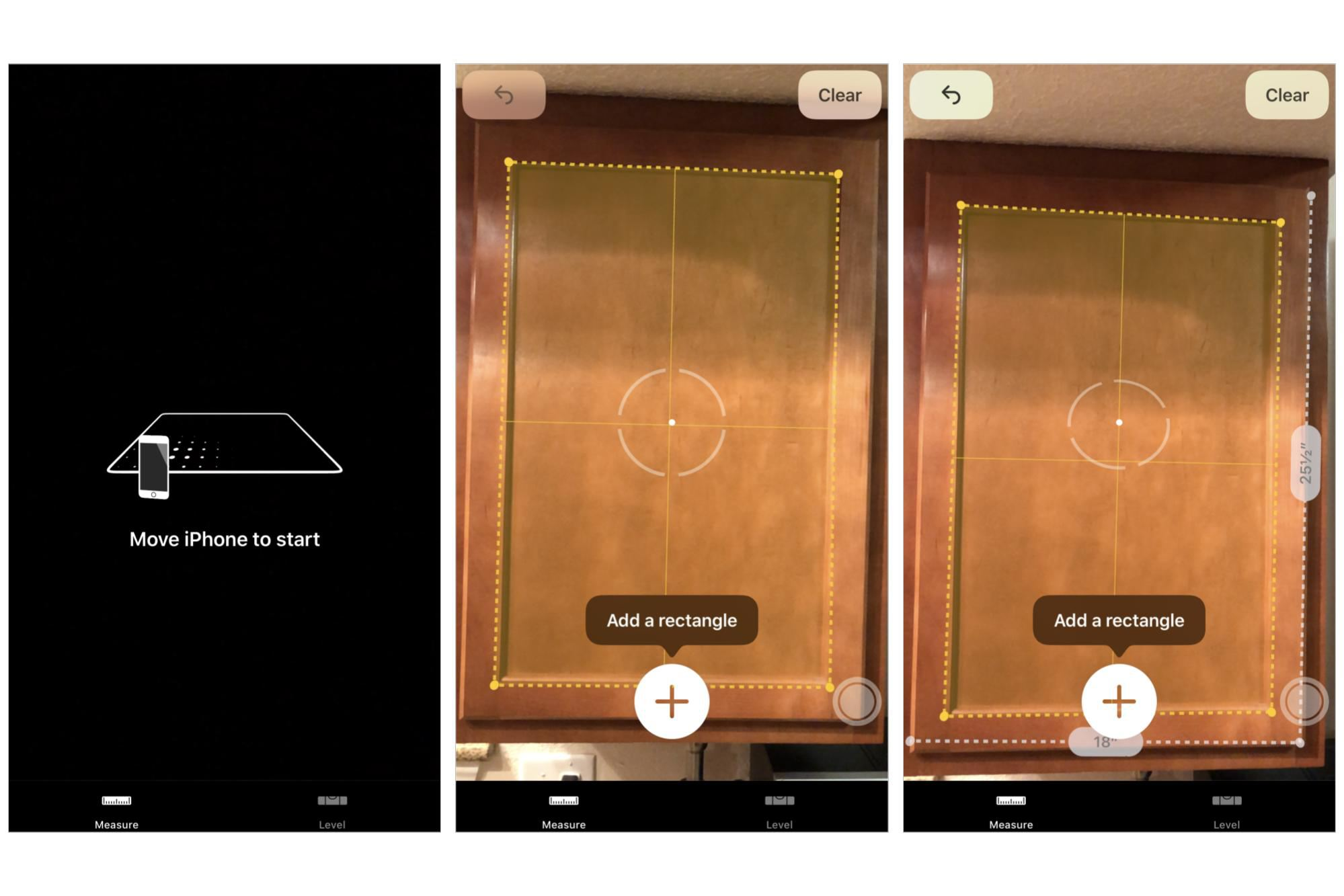 3 screenshots: Move iPhone to start message; Initial measurement options; Measured dimensions of a kitchen cabinet shown