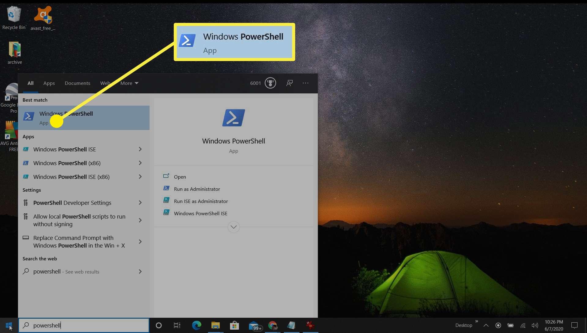 Screenshot of opening PowerShell on Windows 10