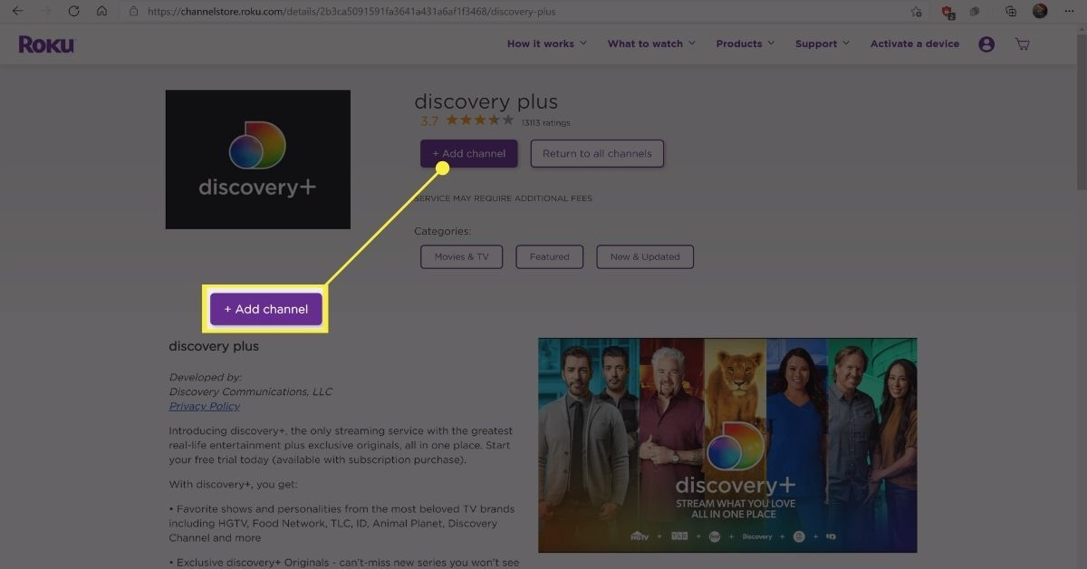 Add channel button on the Discovery Plus page on the Roku Channel store.