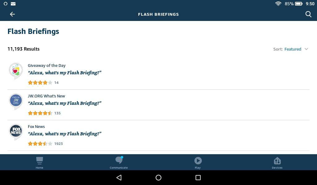 Alexa flash briefing feeds in the Alexa mobile app.