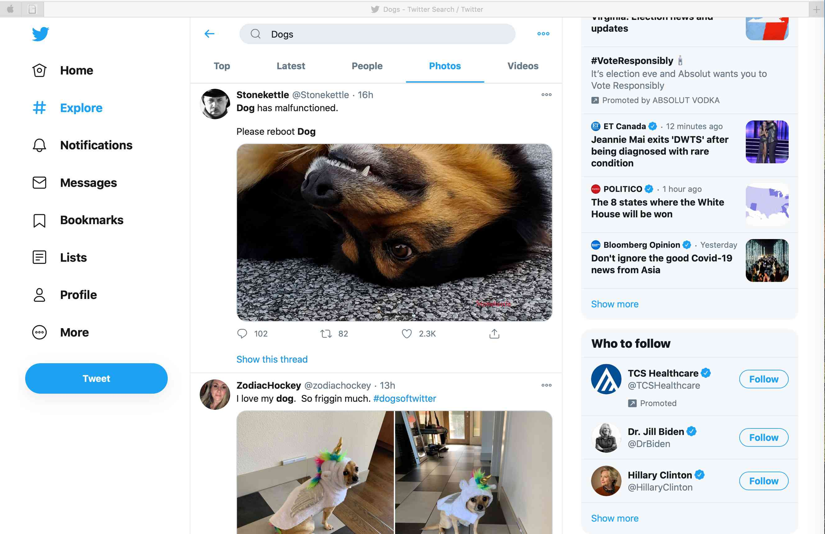 Tweets that contain photos of dogs