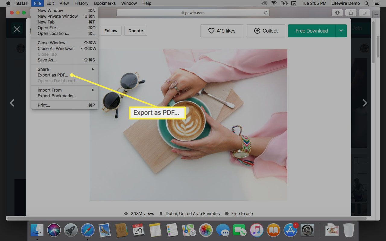 Export as PDF menu item in macOS