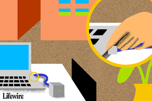 Illustration of a RJ45 connector placed into a laptop