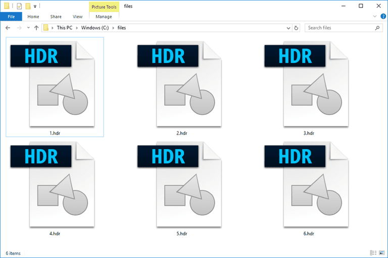 Screenshot of several HDR files in Windows 10 that are used with Photoshop