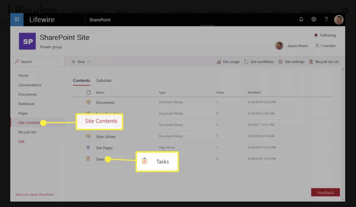 Select Site Contents > Tasks.