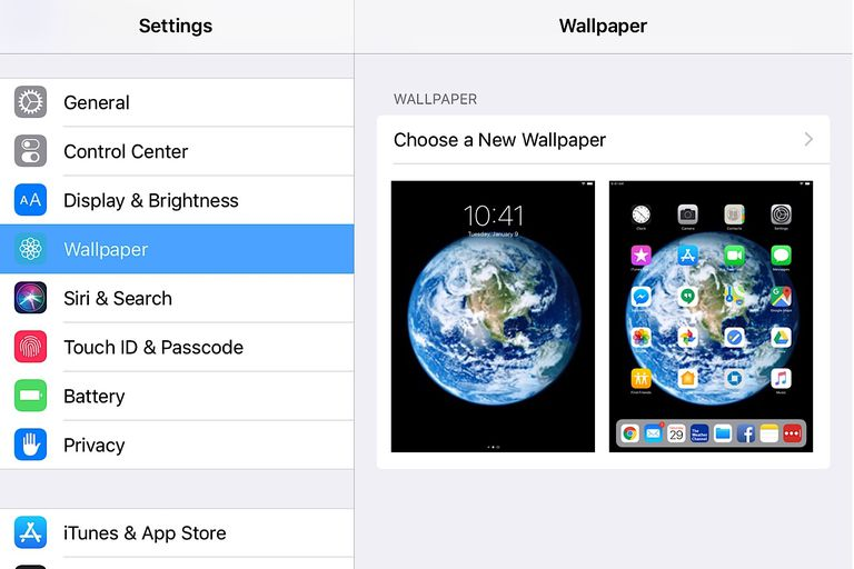 Screenshot of Wallpaper > Choose a New Wallpaper setting on iPad