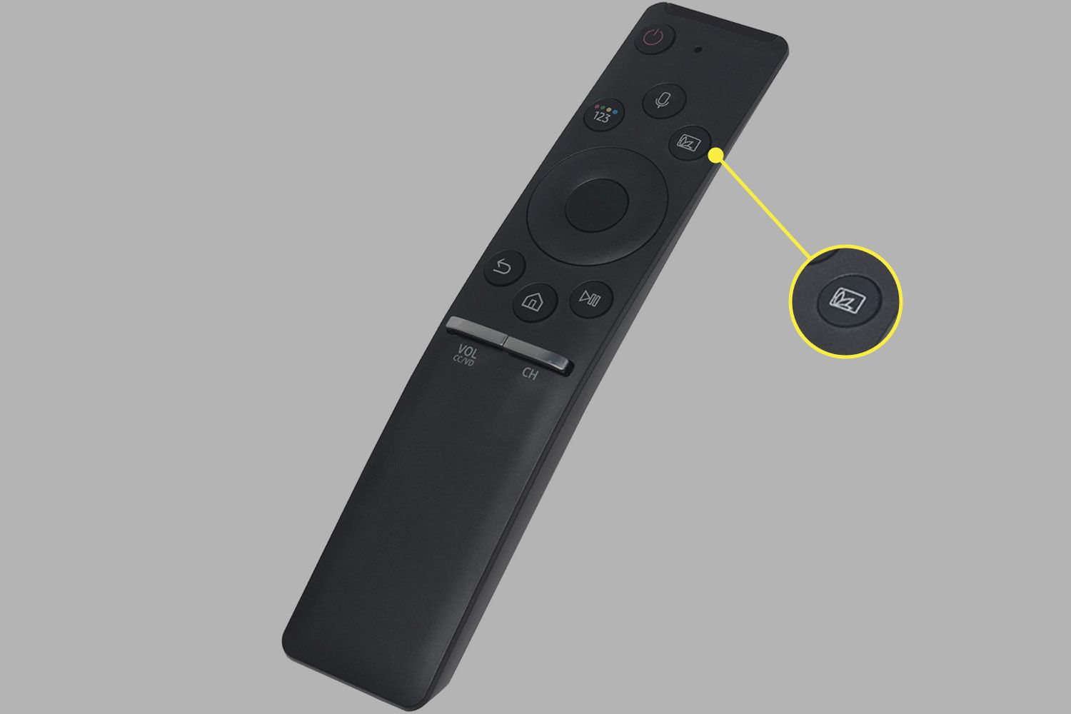 The Ambient Mode button on a Samsung TV remote