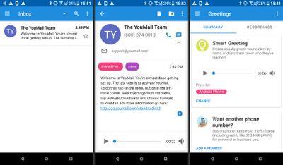 Screenshots of YouMail app.