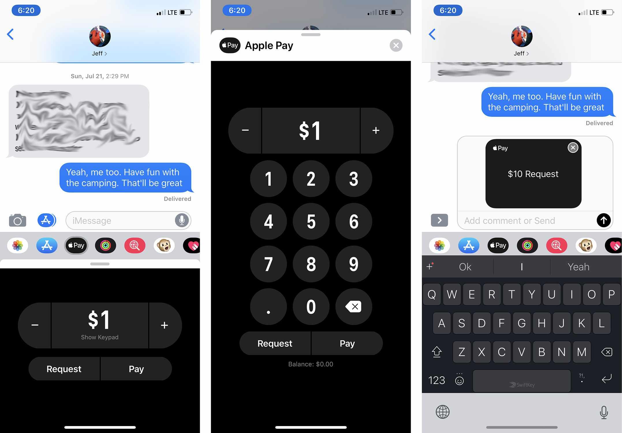 Screenshots of requesting money using Apple Pay Cash
