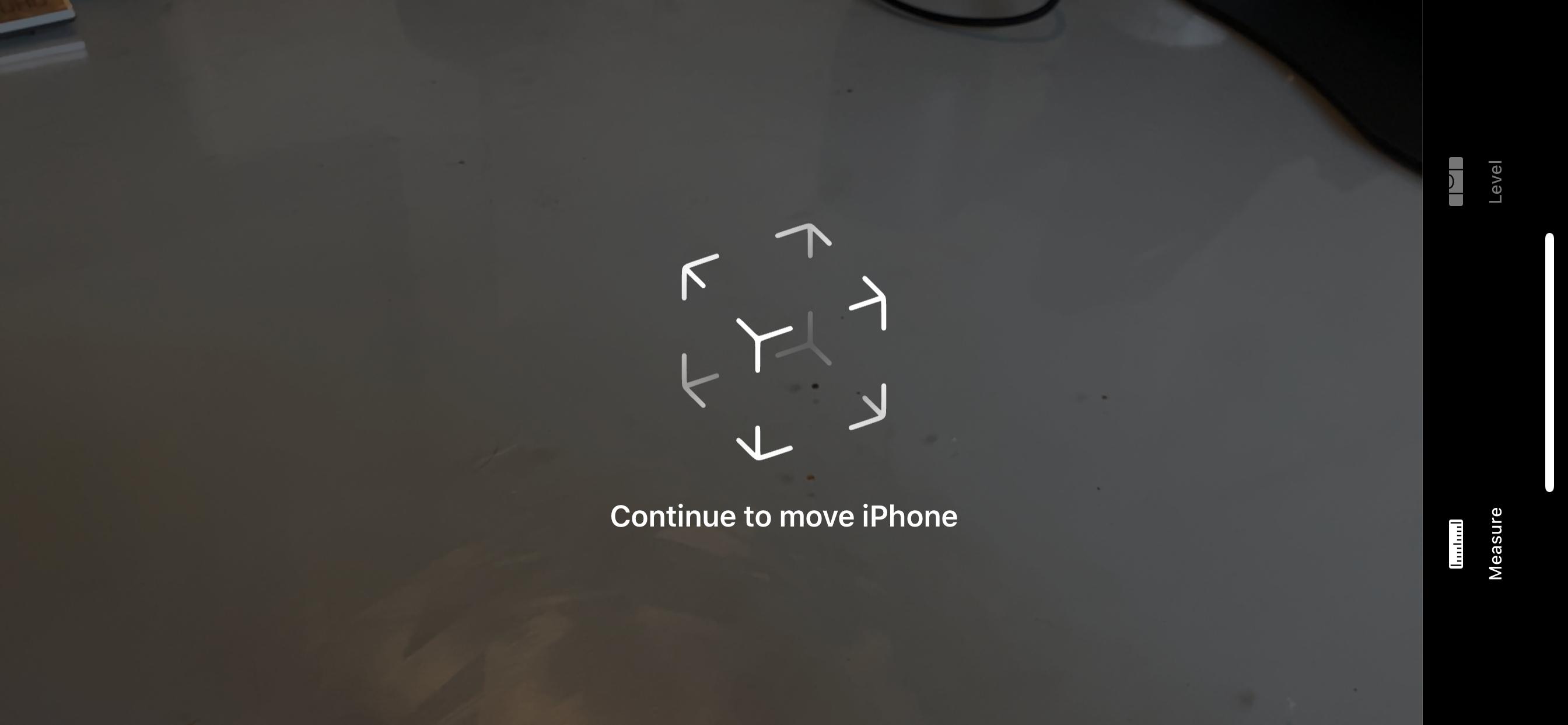The Meaqsure app's calibration screen