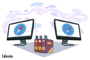 Illustration of bookmarks between two Safari logos on monitors