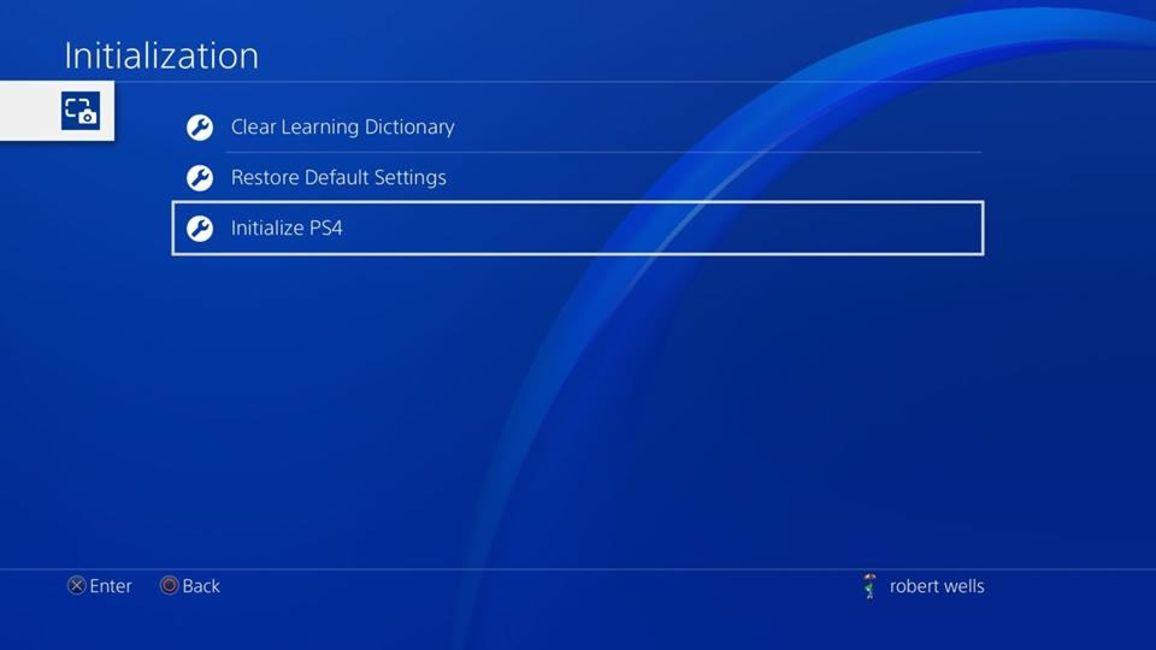 PS4 initialization screen