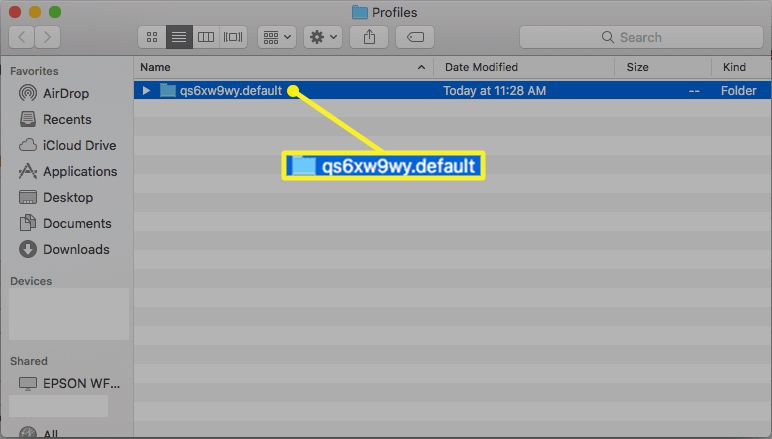 Firefox Profile folder in macOS