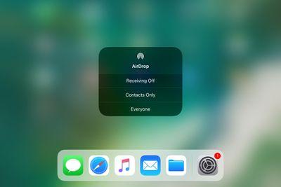 AirDrop in iOS 11 control center screenshot