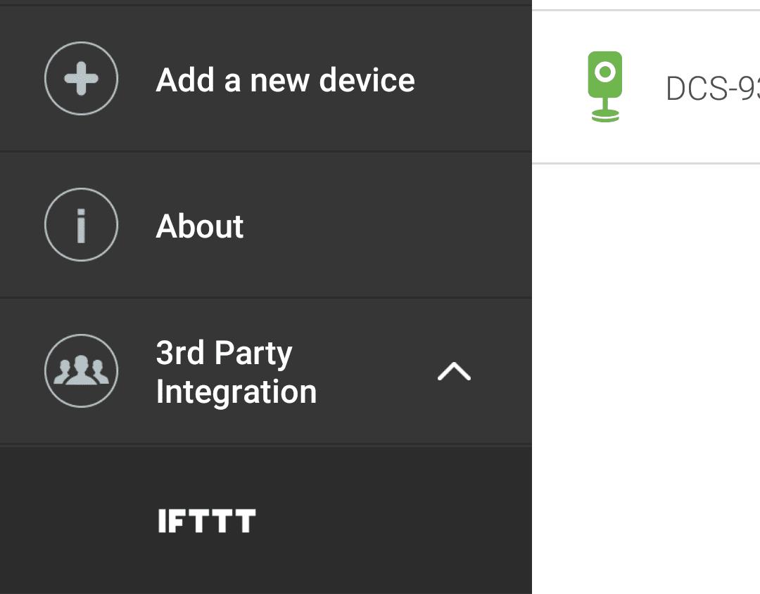 Screenshot of D-Link third party applications app.