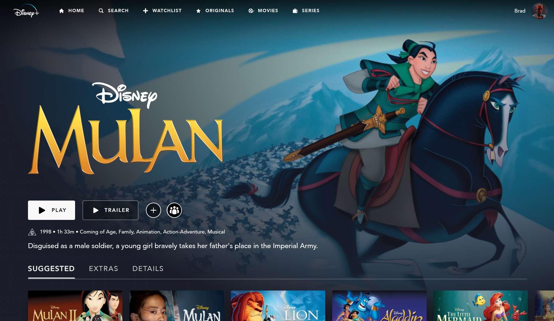 The original animated Mulan movie for kids on Disney Plus.
