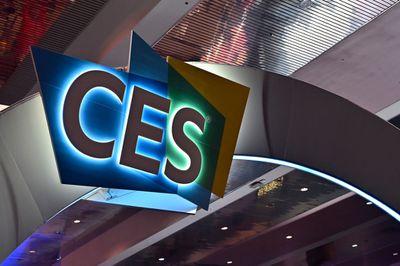 CES logo lit up above show floor