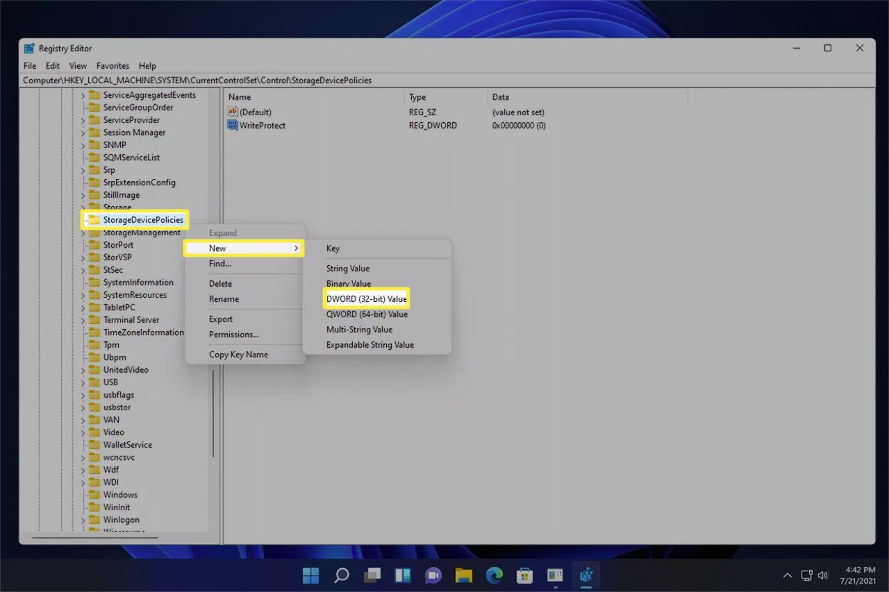 The StorageDevicePolicies registry key menu in Windows 11.
