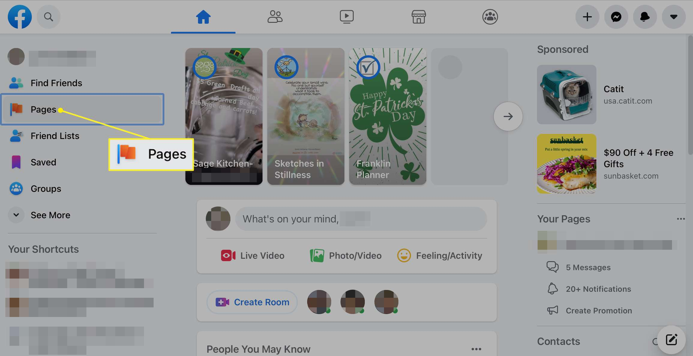 Pages selected in the Facebook sidebar
