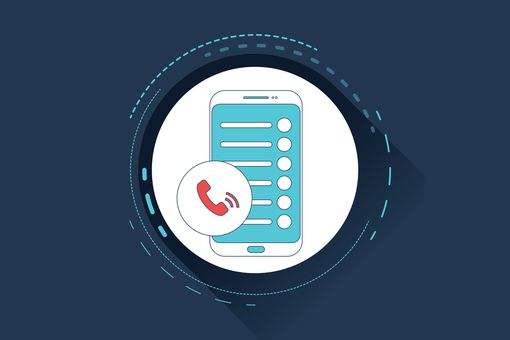 Illustration of phone with contacts on it