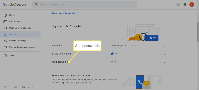 App passwords in Google Account settings