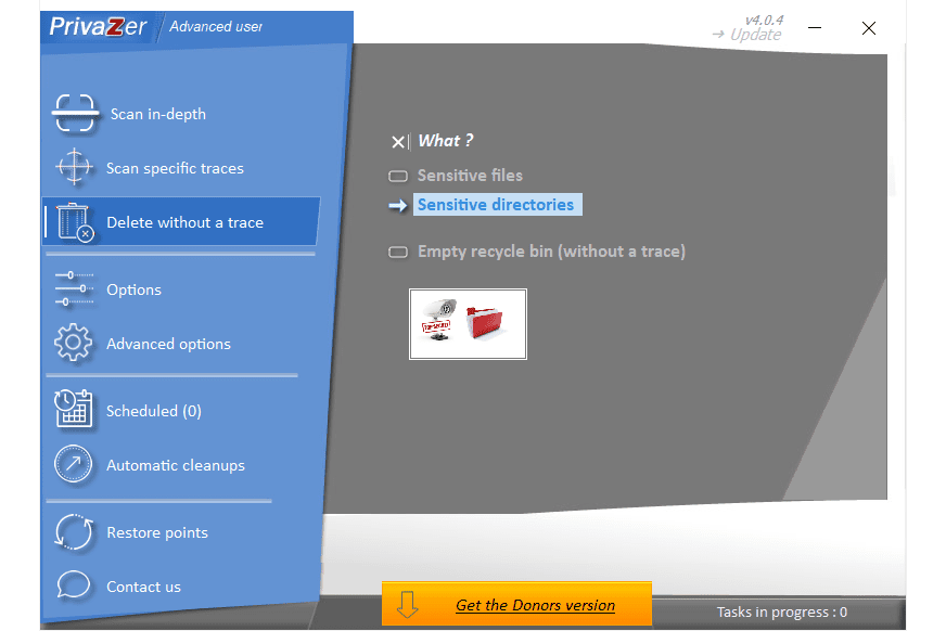PrivaZer delete without a trace menu