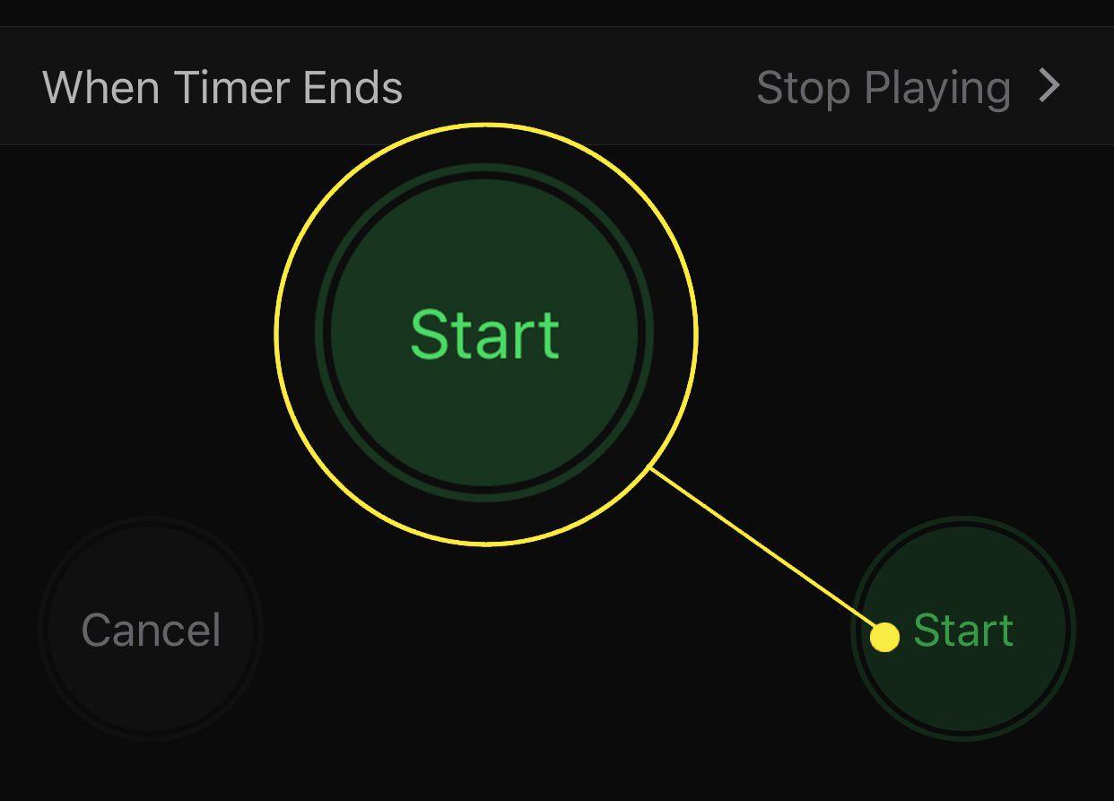 Start button in iOS Clock app