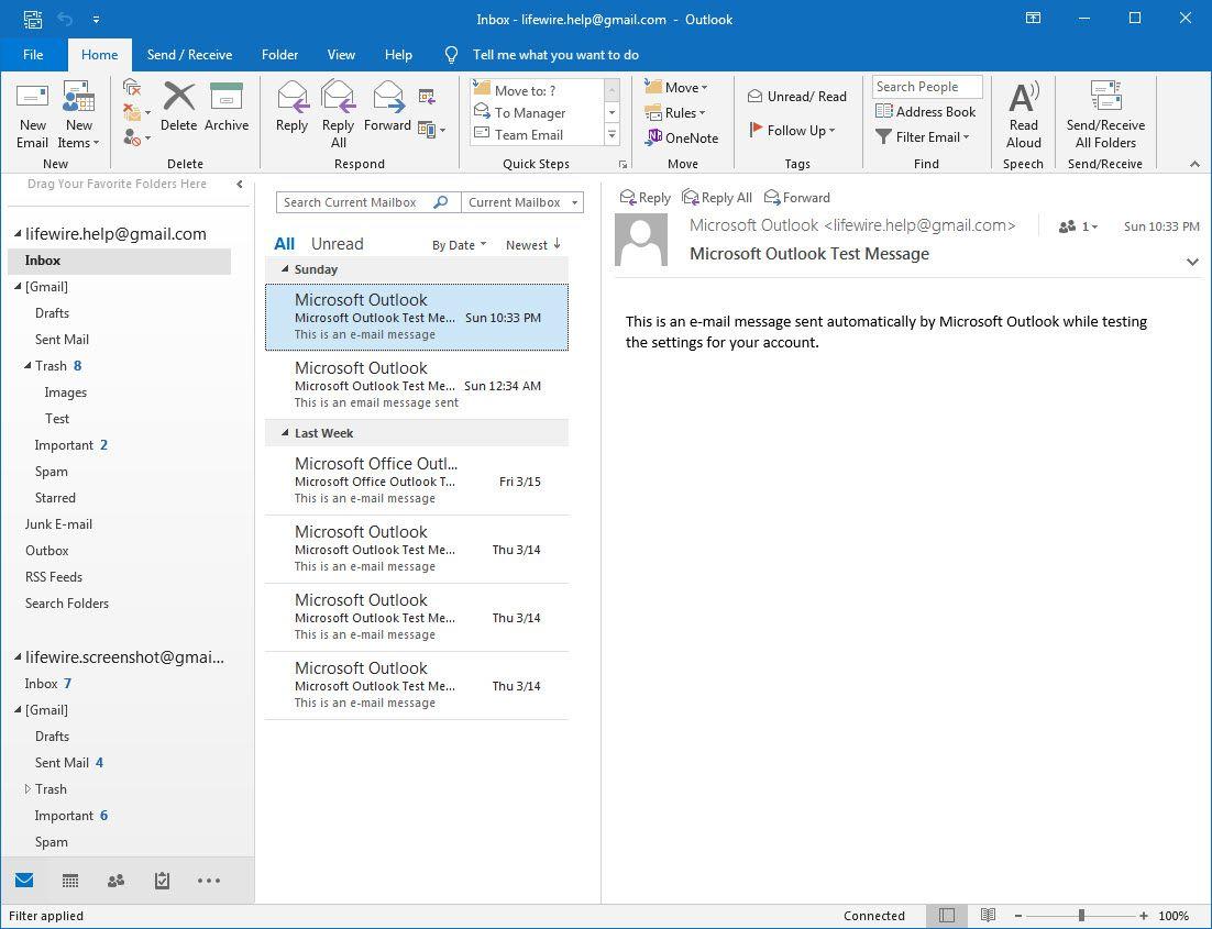 Outlook 2016 File ribbon menu selection