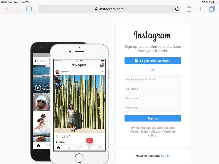 screenshot of instagram.com home page on Safari for iPad