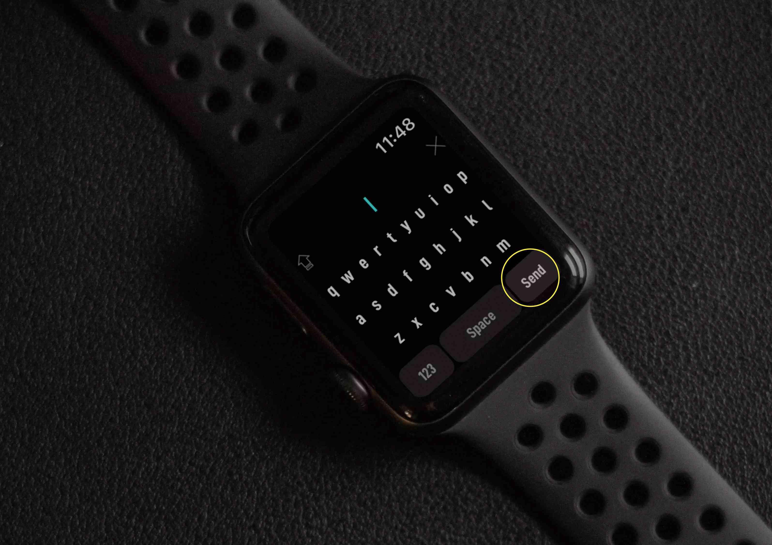 WatchKey app keyboard on Apple Watch.