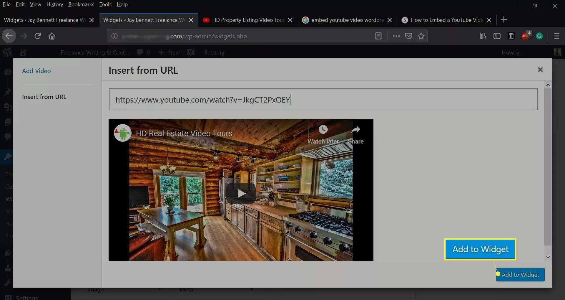 Add to Widget on the WordPress dashboard