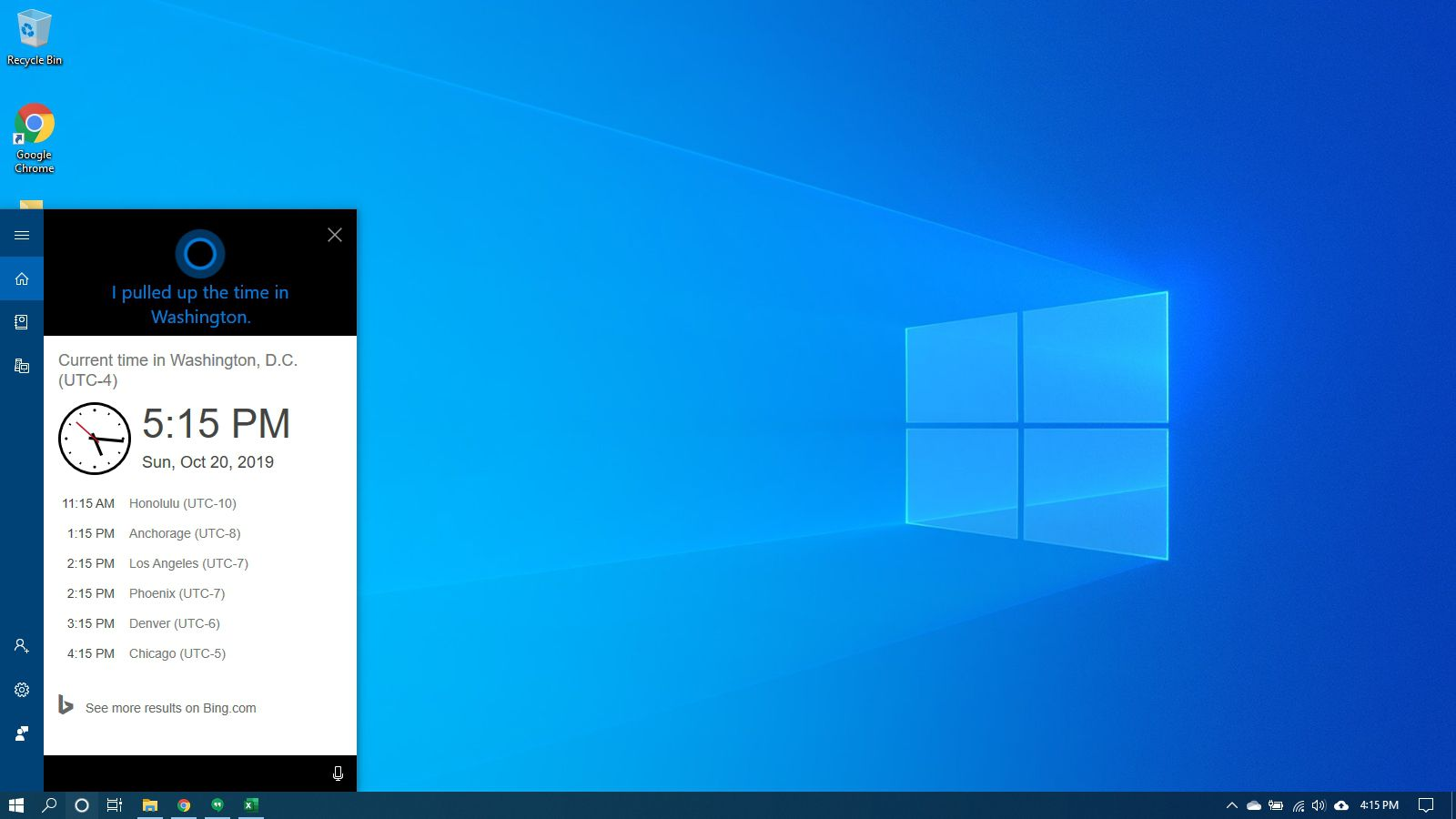 Cortana giving the time in Windows 10.