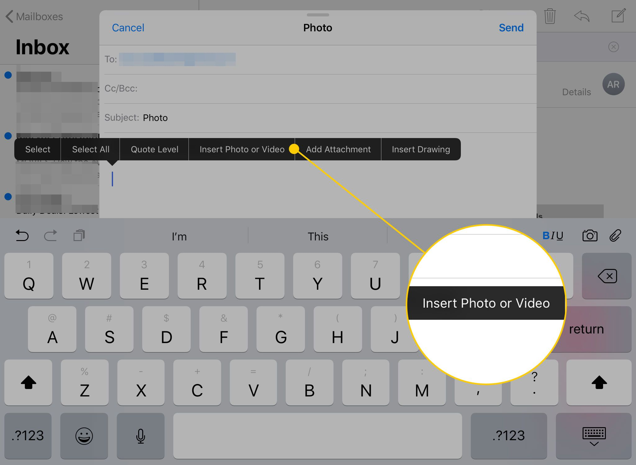 Add Attachment To Iphone Email how to attach a photo to an email on the iphone or ipad