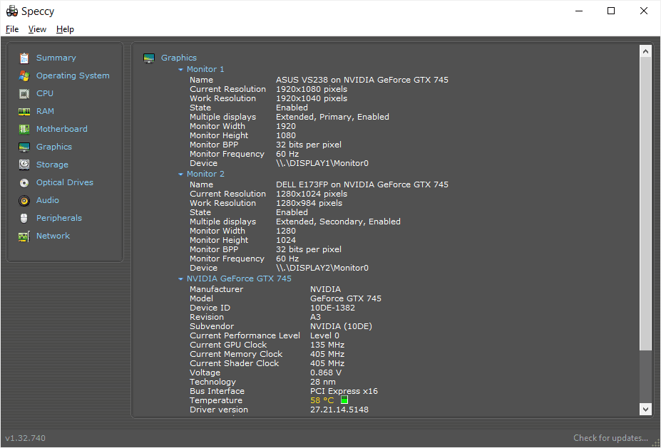 Speccy graphics card information