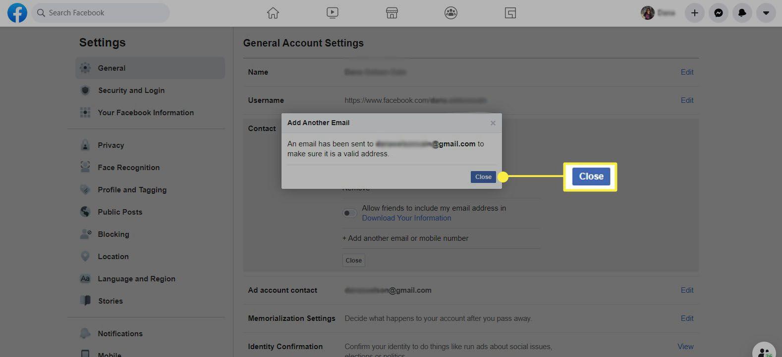 Facebook - select Close
